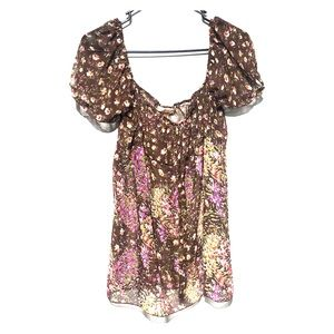 Andrew & Co printed floral blouse medium